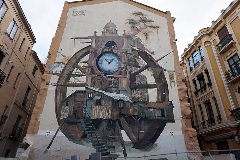 Ruta de murales en Zamora. Arte urbano en la trasera del Ayuntamiento