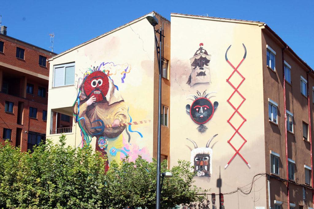 Ruta de murales en Zamora. Arte Urbano homenaje a las mascaradas